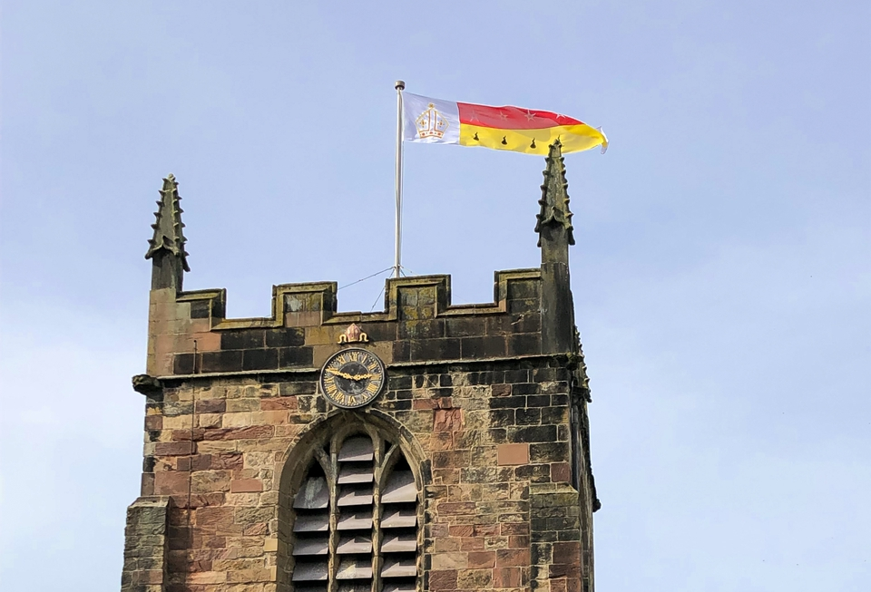 Flag on top of Bangor Cathedral